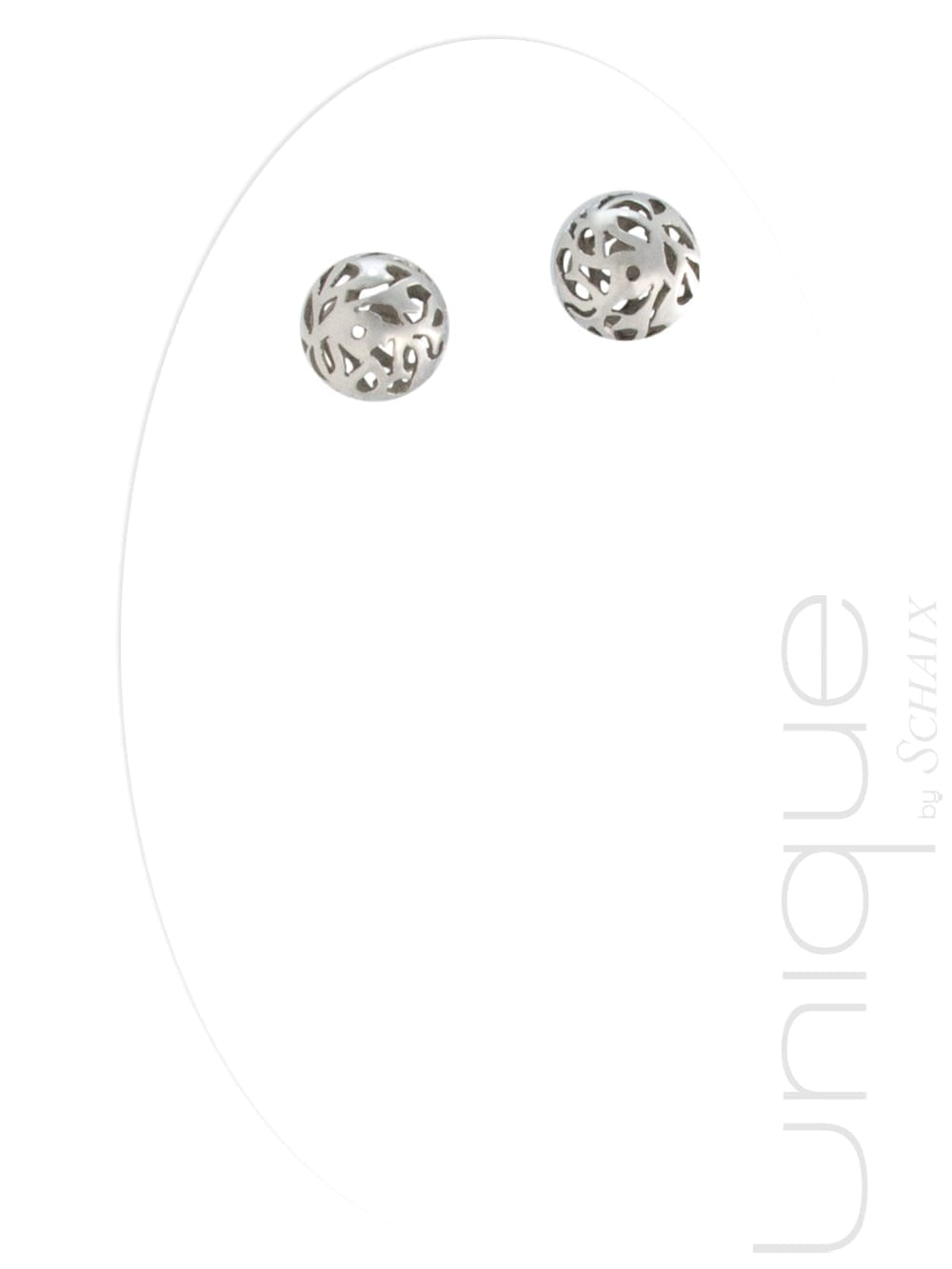 Silver earrings, carved beads