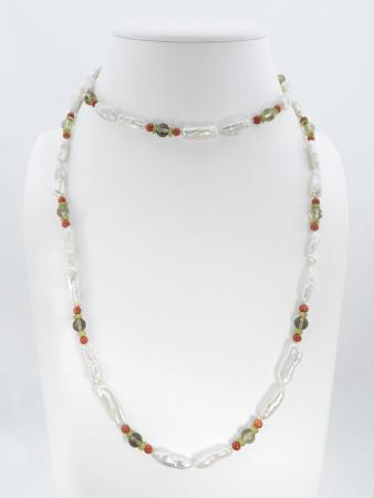 collier-corail-peridot-quartz fumé-perles- unique by schaix